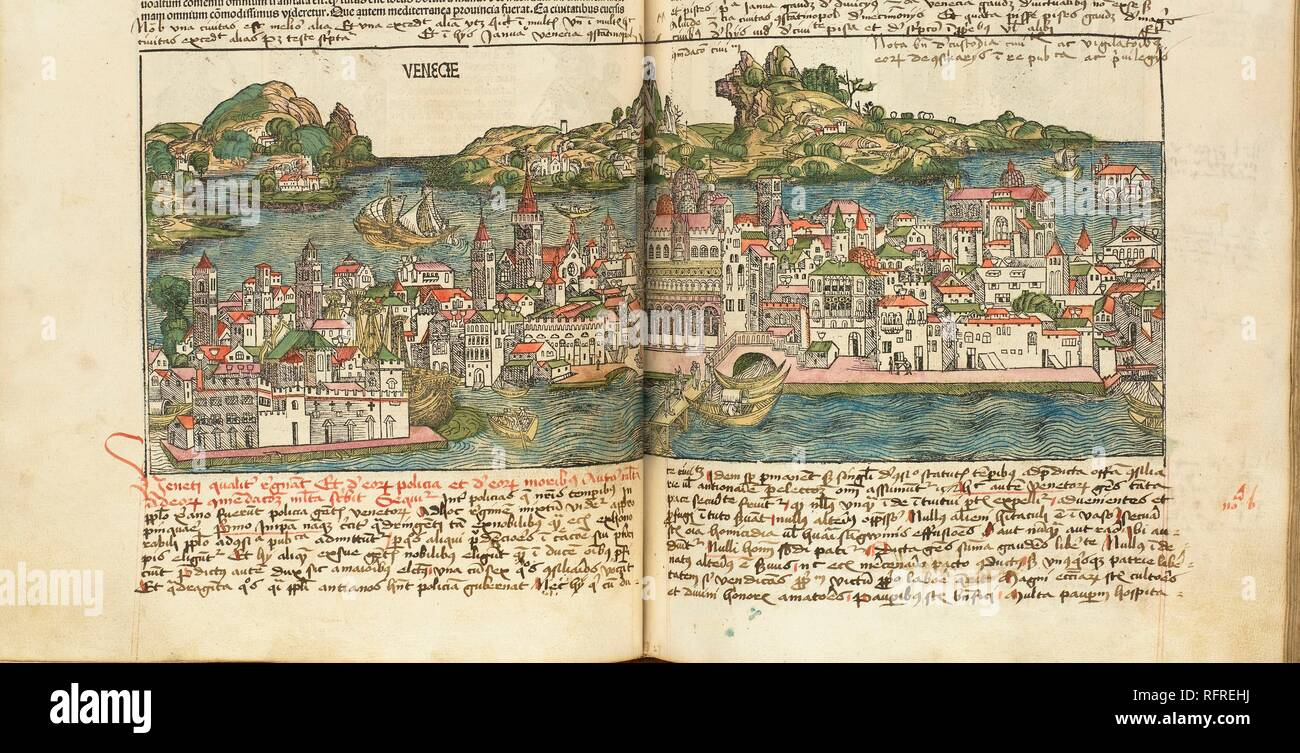 View of Venice. From: Liber chronicarum by Hartmann Schedel. Museum: Bayerische Staatsbibliothek, Munich. Author: WOLGEMUT, MICHAEL. - Stock Image