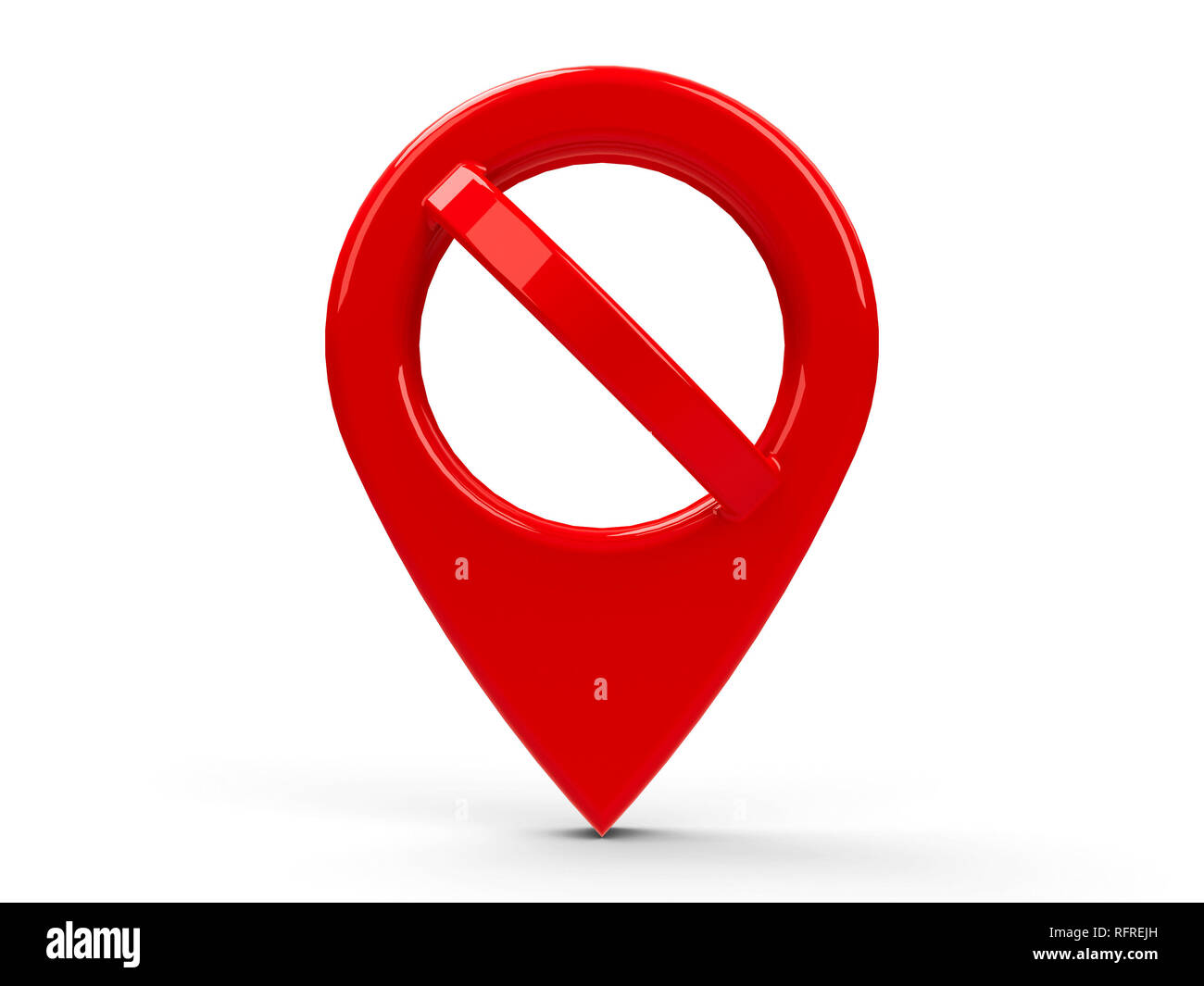 Red map pointer with No sign isolated on white background, three-dimensional rendering, 3D illustration - Stock Image