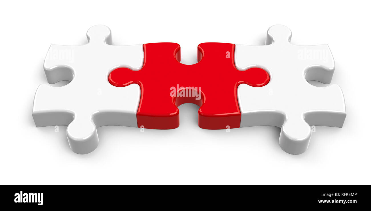 Three jigsaw pieces with red piece in the center, concept of leadership or cohesion, three-dimensional rendering, 3D illustration - Stock Image