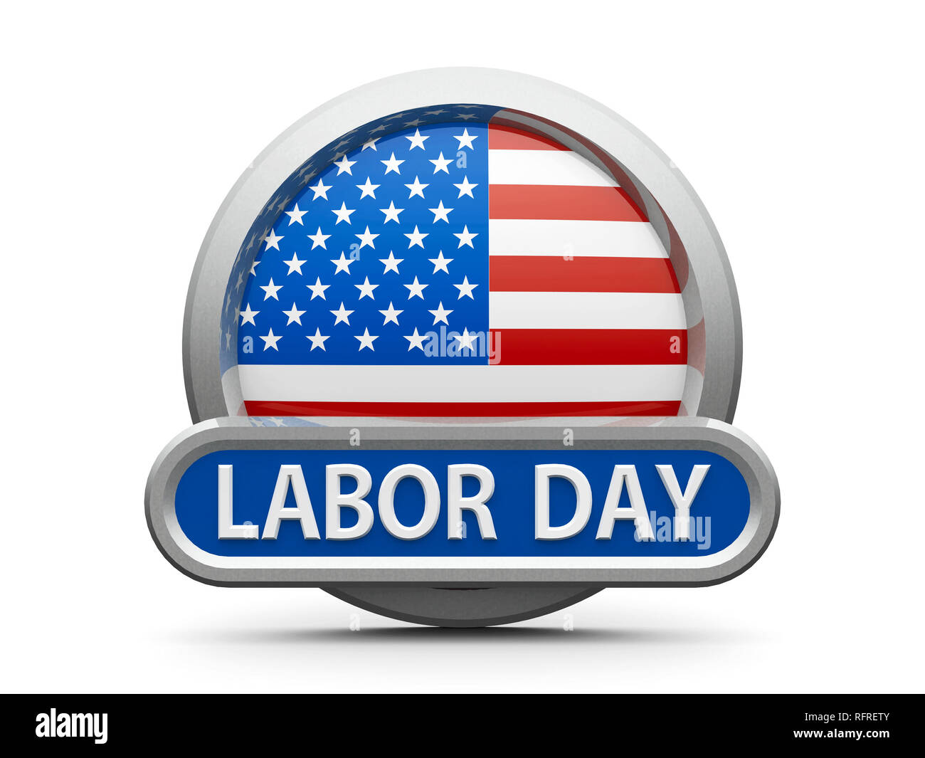 Emblem, icon or button with american flag represents Labor Day in USA, isolated on white background, three-dimensional rendering, 3D illustration - Stock Image