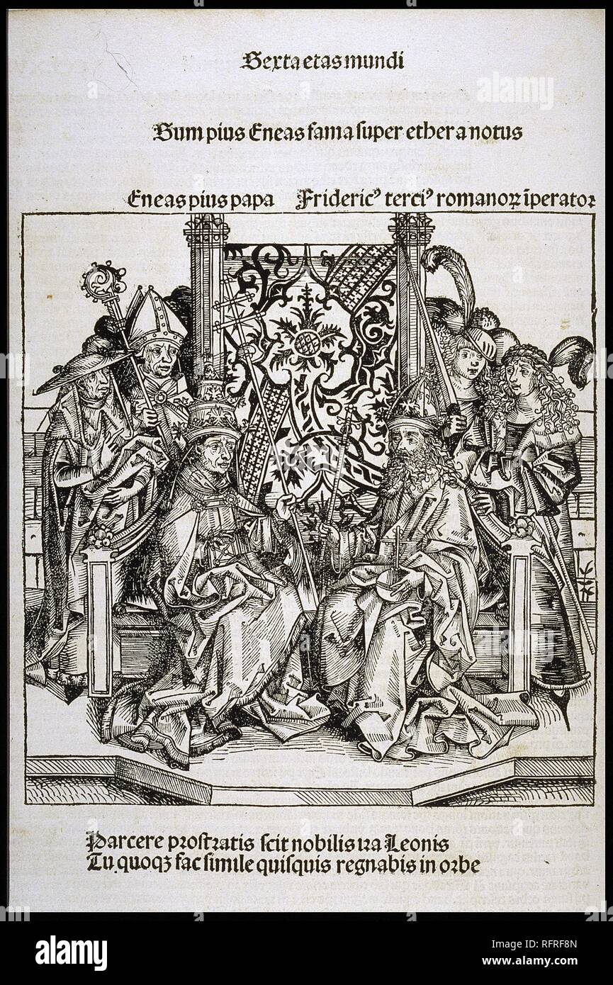 Meeting between Pope Pius II and Frederick III, Emperor of Germany (from the Schedel's Chronicle of the World). Museum: PRIVATE COLLECTION. Author: WOLGEMUT, MICHAEL. - Stock Image
