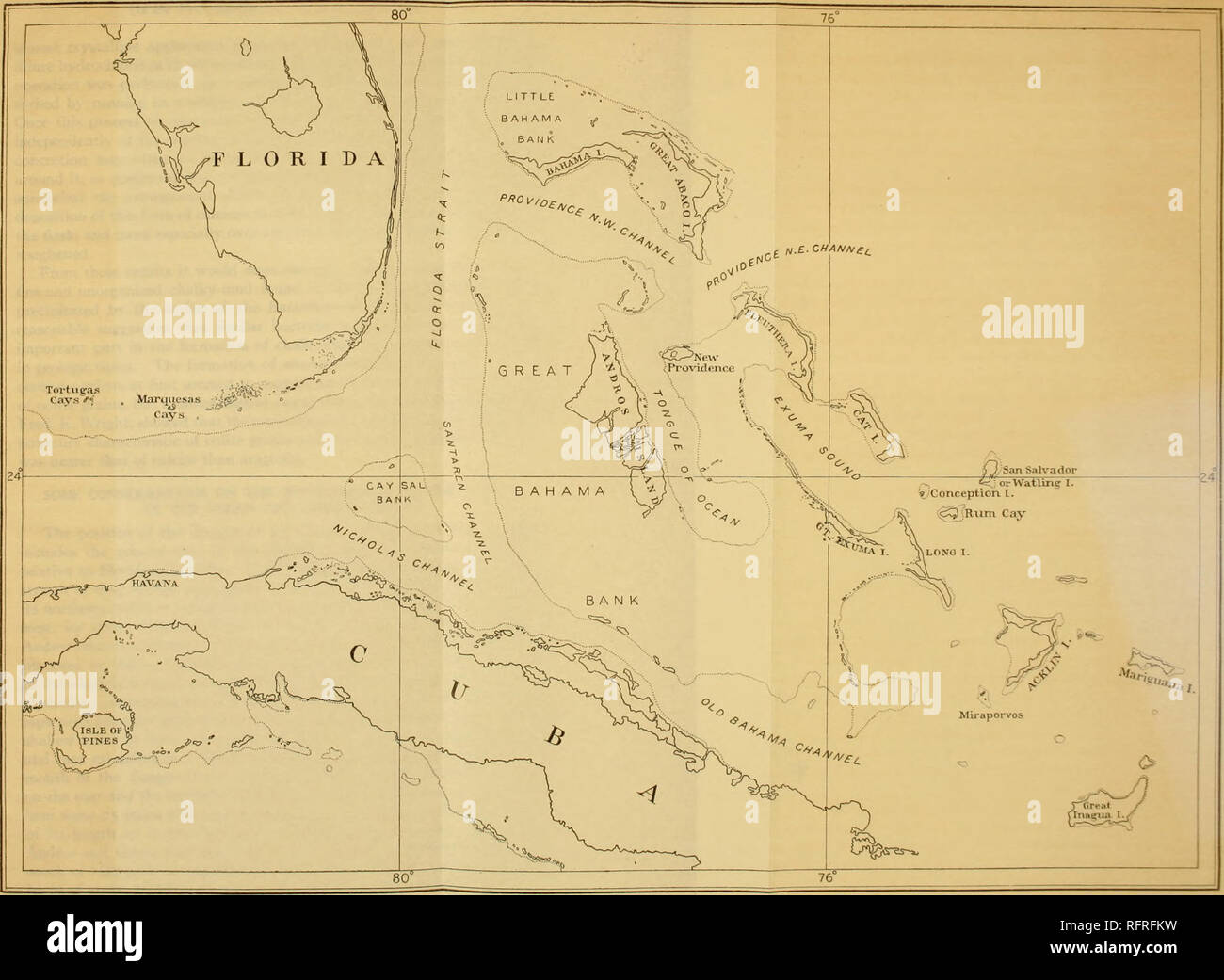 """. Carnegie Institution of Washington publication. . = lOO Fathom Line. (""""hart Showing General Geographical Relations of the Western Bahama Island.. Please note that these images are extracted from scanned page images that may have been digitally enhanced for readability - coloration and appearance of these illustrations may not perfectly resemble the original work.. Carnegie Institution of Washington. Washington, Carnegie Institution of Washington Stock Photo"""