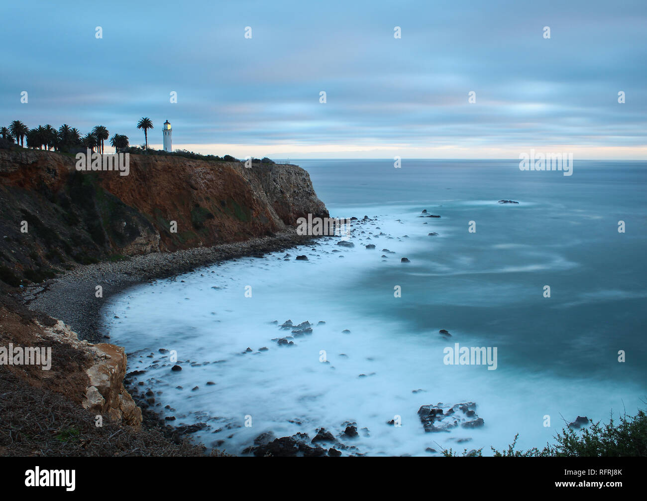 Point Vicente Lighthouse on a Cloudy Evening, Palos Verdes Peninsula, Los Angeles County, California Stock Photo