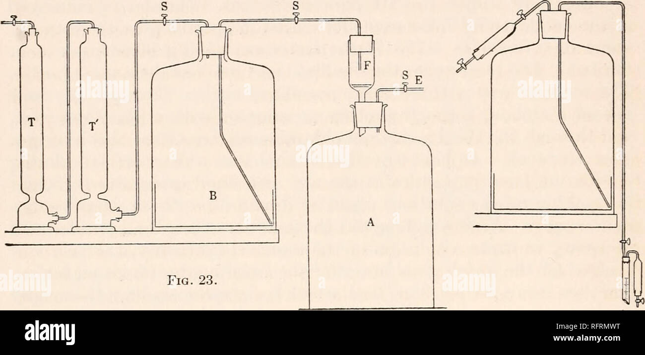 . Carnegie Institution of Washington publication. 70 CONDUCTIVITIES OF ORGANIC ACIDS The bottle containing the alkali was covered with a dark material, since, in the presence of light the tendency of the alkaline solution to become colored is much greater than in the dark. One of the greatest difficulties in connection with the alcoholic pot- ash method was that of temperature changes. The coefficient of expan- sion of alcohol is so large that even small changes in the temperature of the laboratory, and consequent changes in temperature of the solu- tion, will change quite appreciably the norm - Stock Image