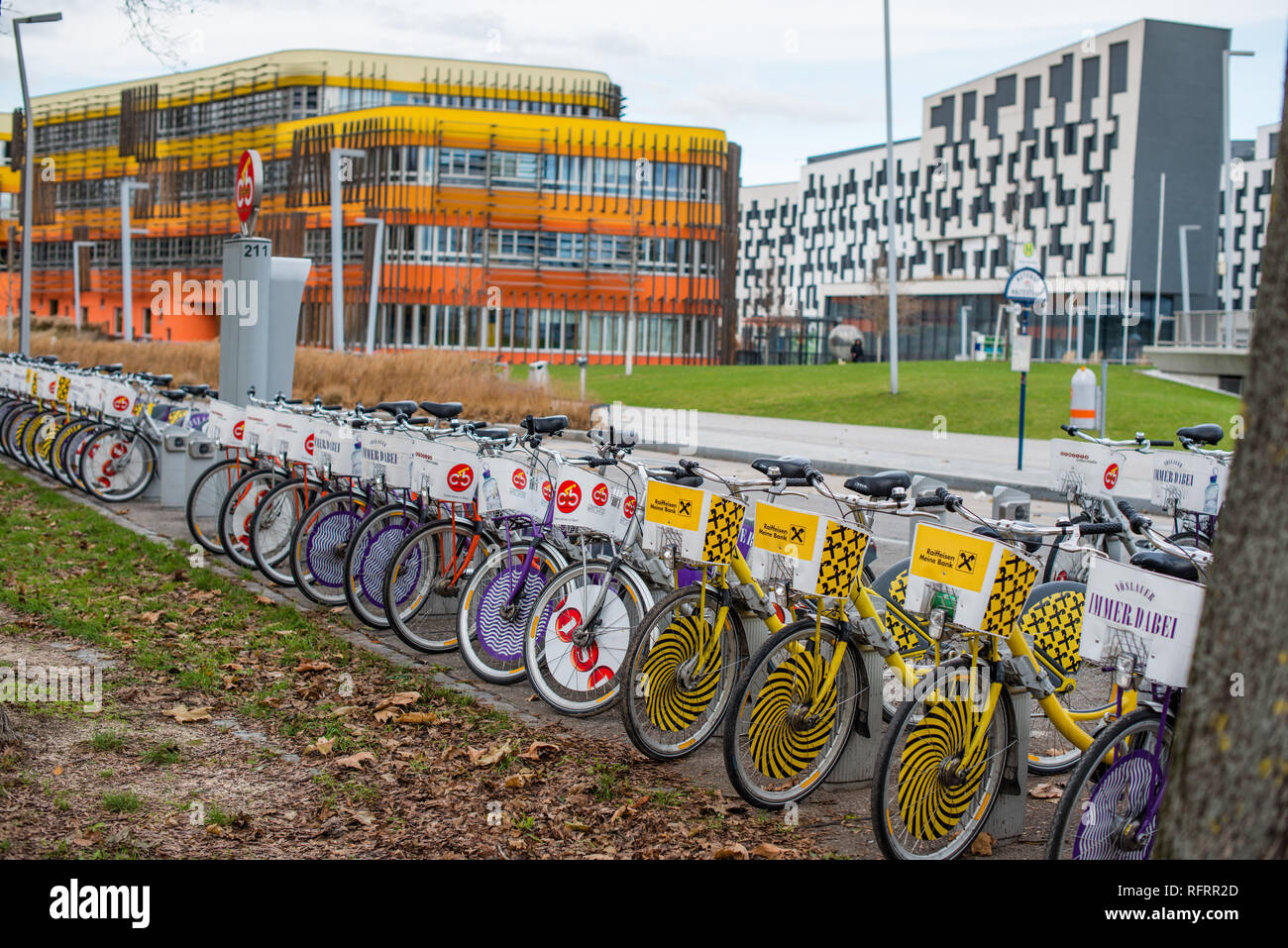 The D3 and AD Administration complex at the Vienna University of Economics and Business. Vienna, Austria. - Stock Image