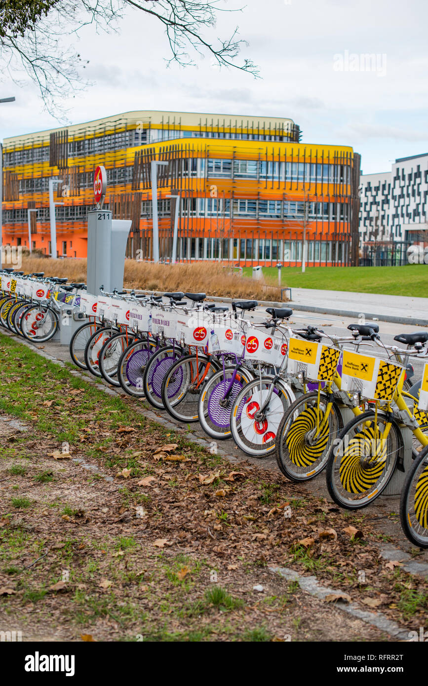 The D3 and AD Administration complex at the Vienna University of Economics and Business. Vienna, Austria - Stock Image