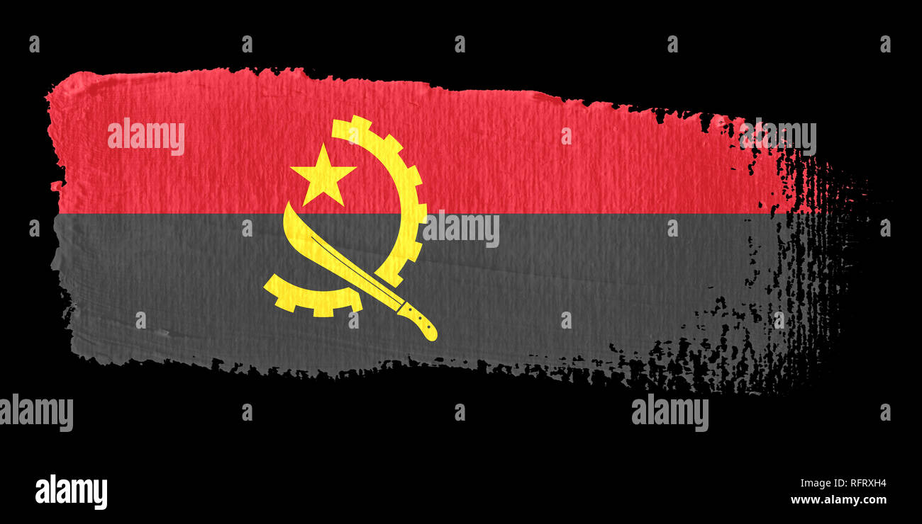 Brushstroke Flag Angola - Stock Image