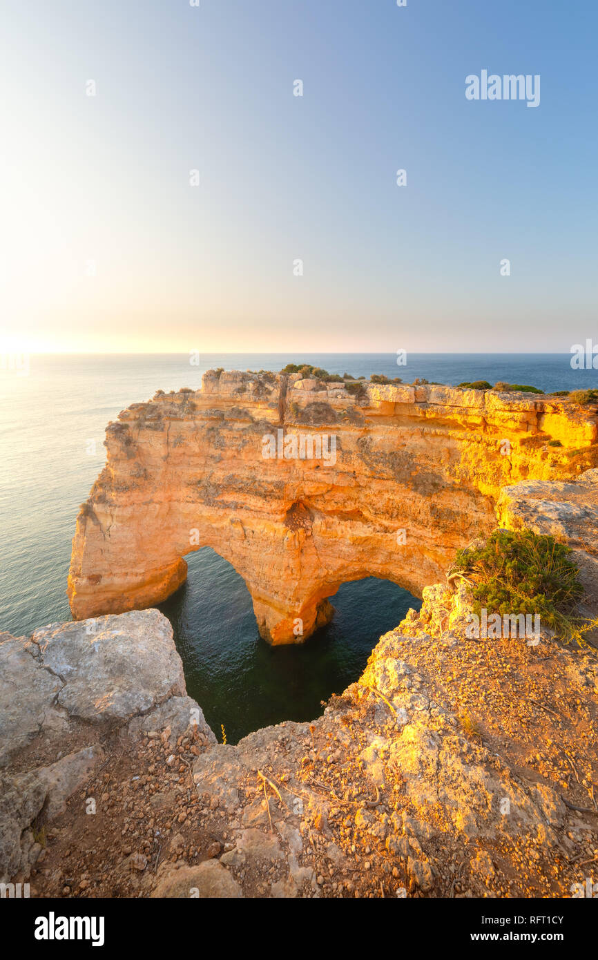 Praia da Marinha, Algarve, Portugal. Seascape and heart shaped rocks - Stock Image