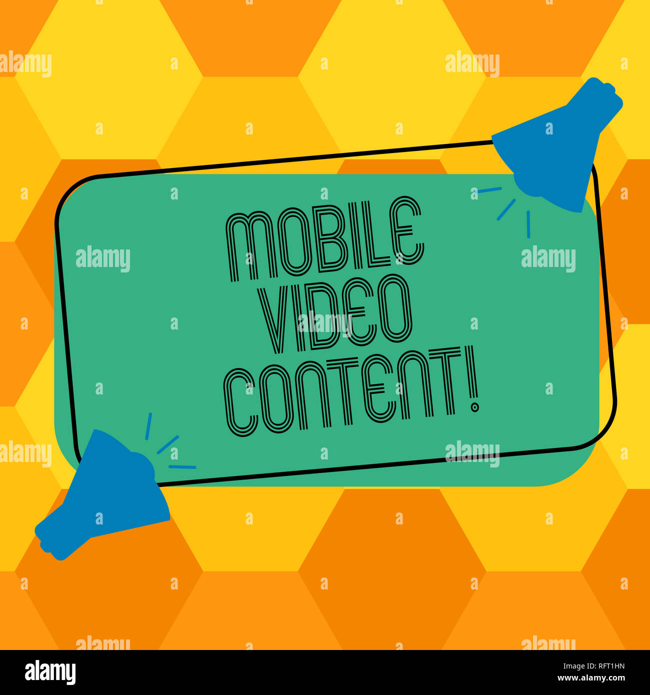 Handwriting text writing Mobile Video Content. Concept meaning Broadcasting or recording film viewed on mobile phones Two Megaphone with Sound icon on - Stock Image