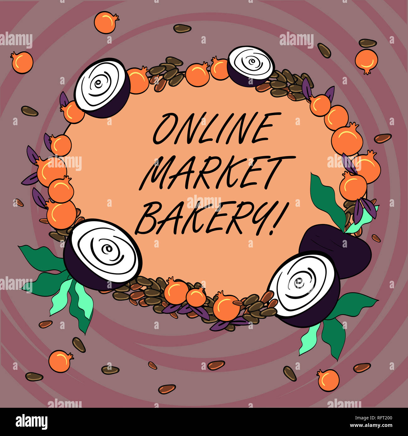 bf519a5bfe Writing note showing Online Market Bakery. Business photo showcasing  Produces and sells flourbased food baked in oven Floral Wreath made of Tiny  Seeds