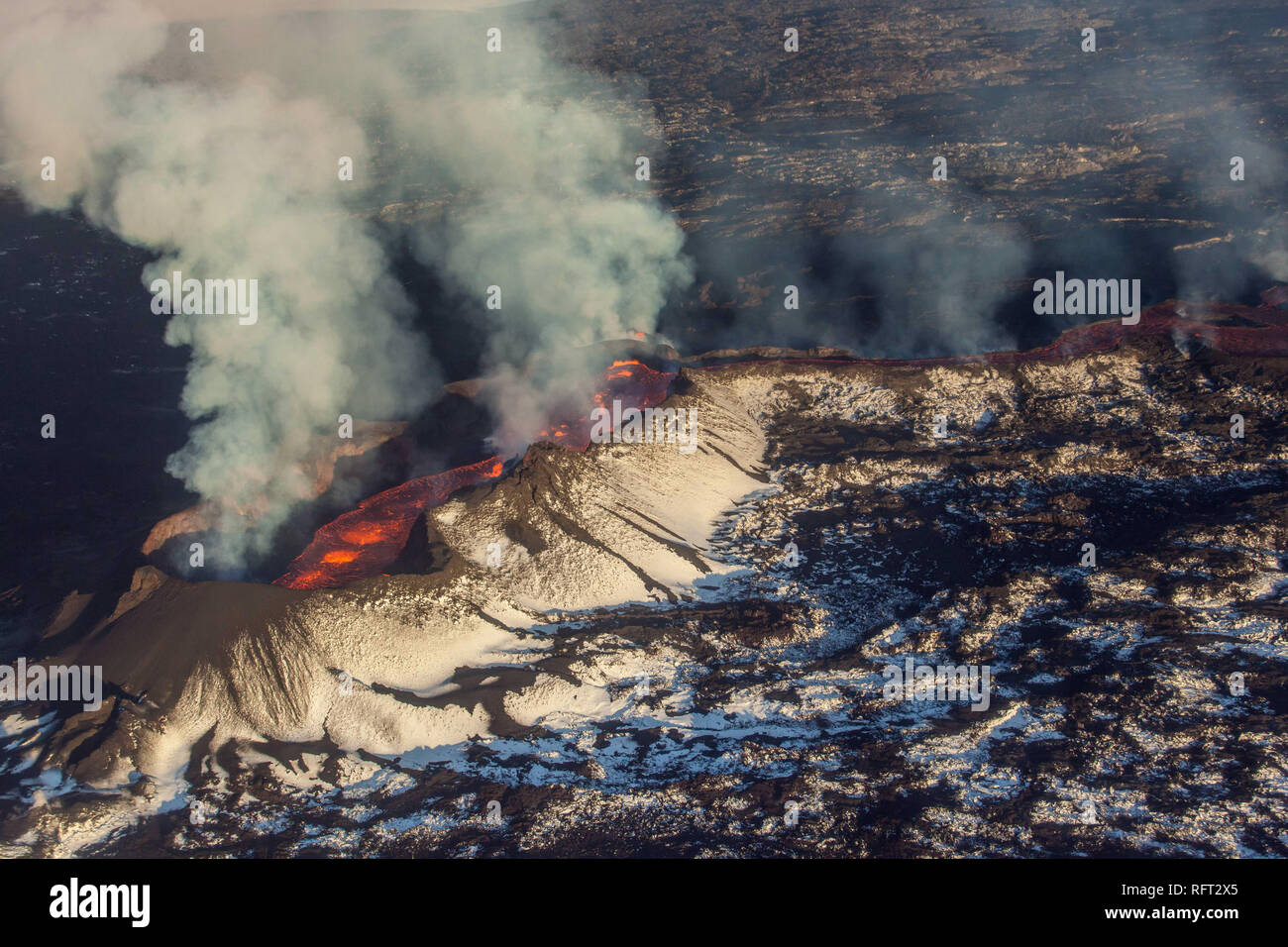 Aerial shot of the active volcano Bardarbunga in Iceland - Stock Image