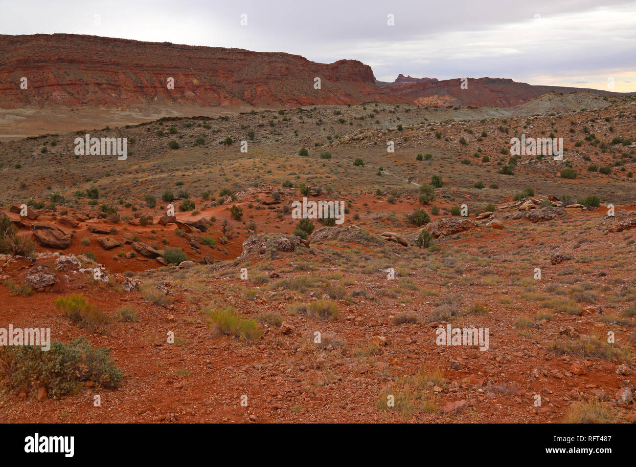 A view of Cache Valley near the lower delicate arch viewpoint in Arches National Park, Utah. - Stock Image