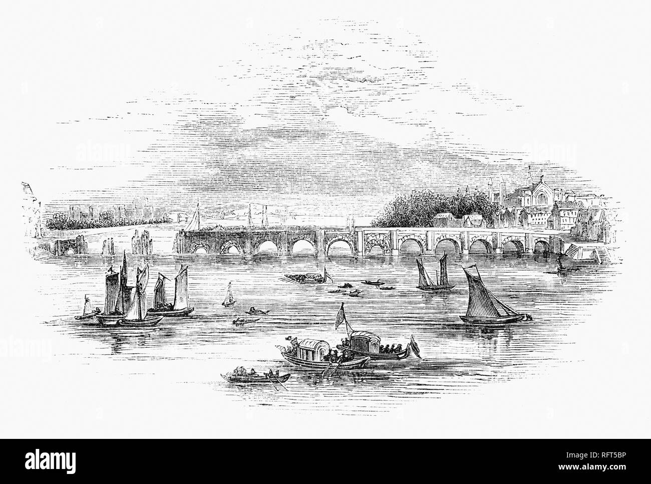 The building of Westminster Bridge, a road-and-foot-traffic bridge over the River Thames in London, linking Westminster on the west side and Lambeth on the east side.  Financed by private capital, lotteries and grants, Westminster Bridge was built between 1739–1750, under the supervision of the Swiss engineer Charles Labelye. and opened on 18 November 1750. - Stock Image