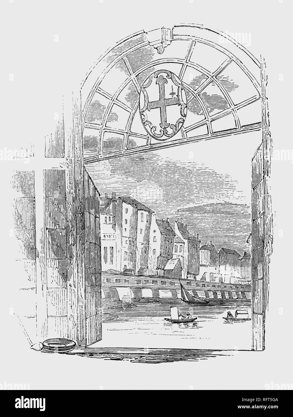Hogarth's view of the houses on London bridge. The last houses built were in 1745, but even these elegant buildings had begun to subside within a decade. In 1756, the London Bridge Act gave the City Corporation the power to purchase all the properties on the bridge so that they could be demolished and the bridge improved. - Stock Image