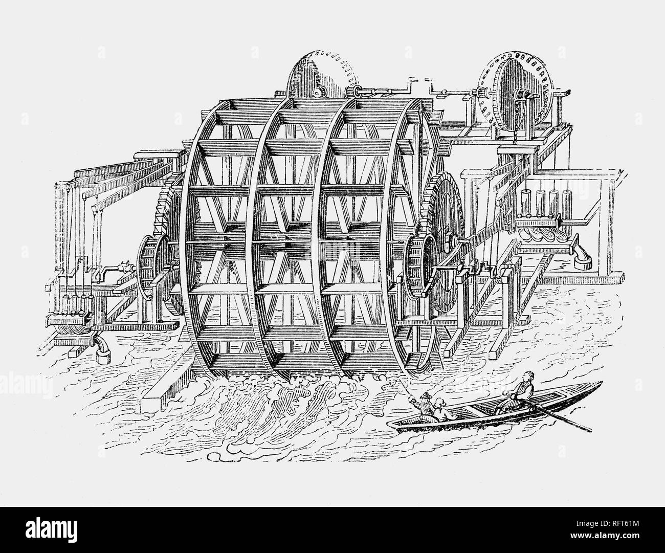 On December 24th,  in 1582, the Dutchman Pieter Maritz's London Bridge Waterworks began supplying fresh water from the Thames to private houses in the City of London.  The rather rickety-looking apparatus worked well, but was destroyed in the Great Fire of 1666. Replaced by his grandson, continueing in use until the removal of the bridge in 1822. The waterworks was one of the largest water companies in London whose initial growth was linked to the City's expansion, but  limited in the eighteenth century because its pipes could not reach the expanding suburbs. - Stock Image