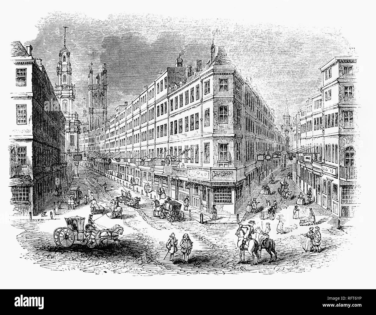 An 18th Century view of the junction of Cornhill and Lombard Street with the tower of the Royal Exchange in the distance, London, England. The Royal Exchange in London was founded in the 16th century by the merchant Thomas Gresham on the suggestion of his factor Richard Clough to act as a centre of commerce for the City of London - Stock Image