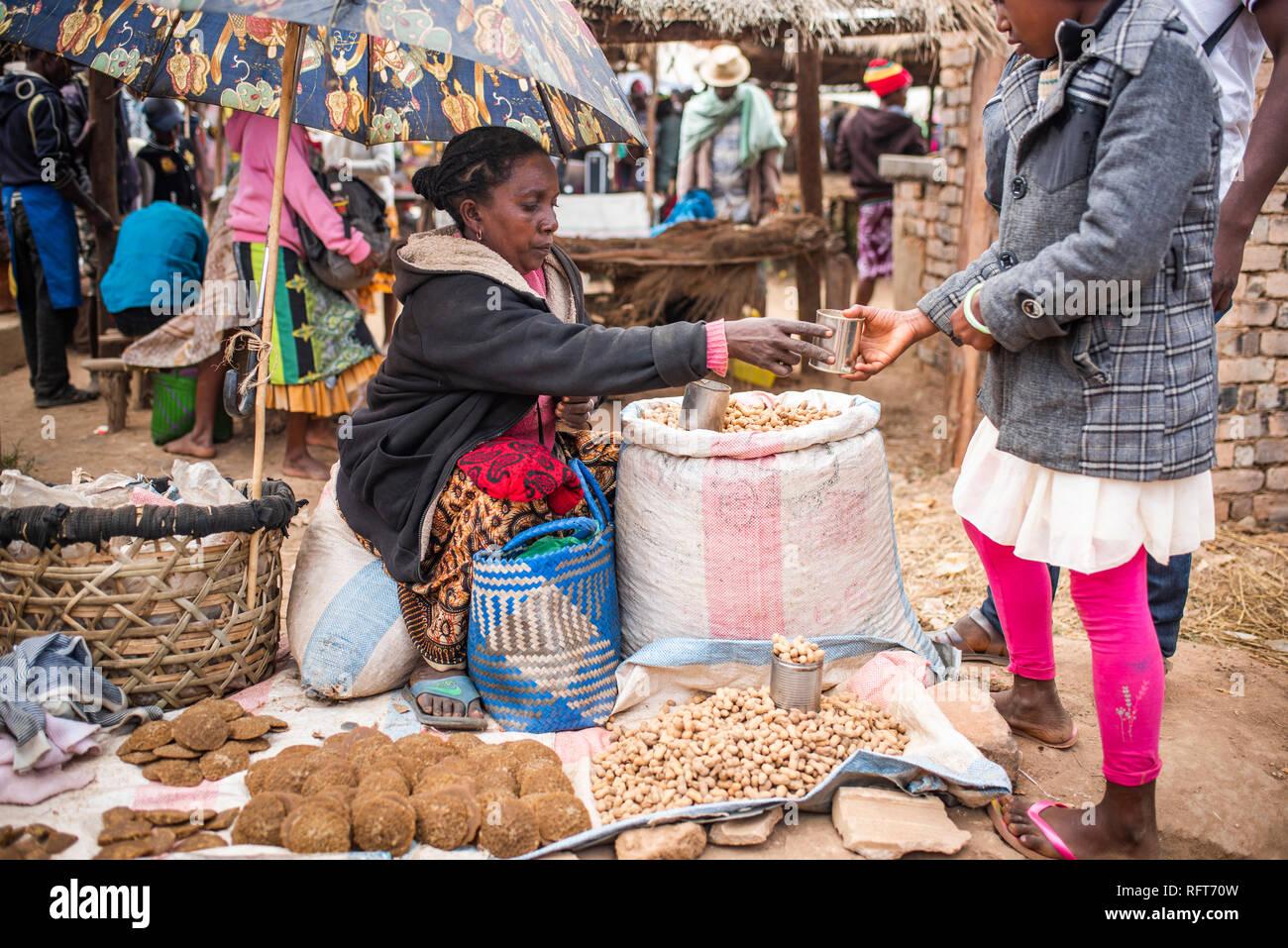 Andohasana Market, near Ranomafana, Madagascar Central Highlands, Madagascar, Africa - Stock Image