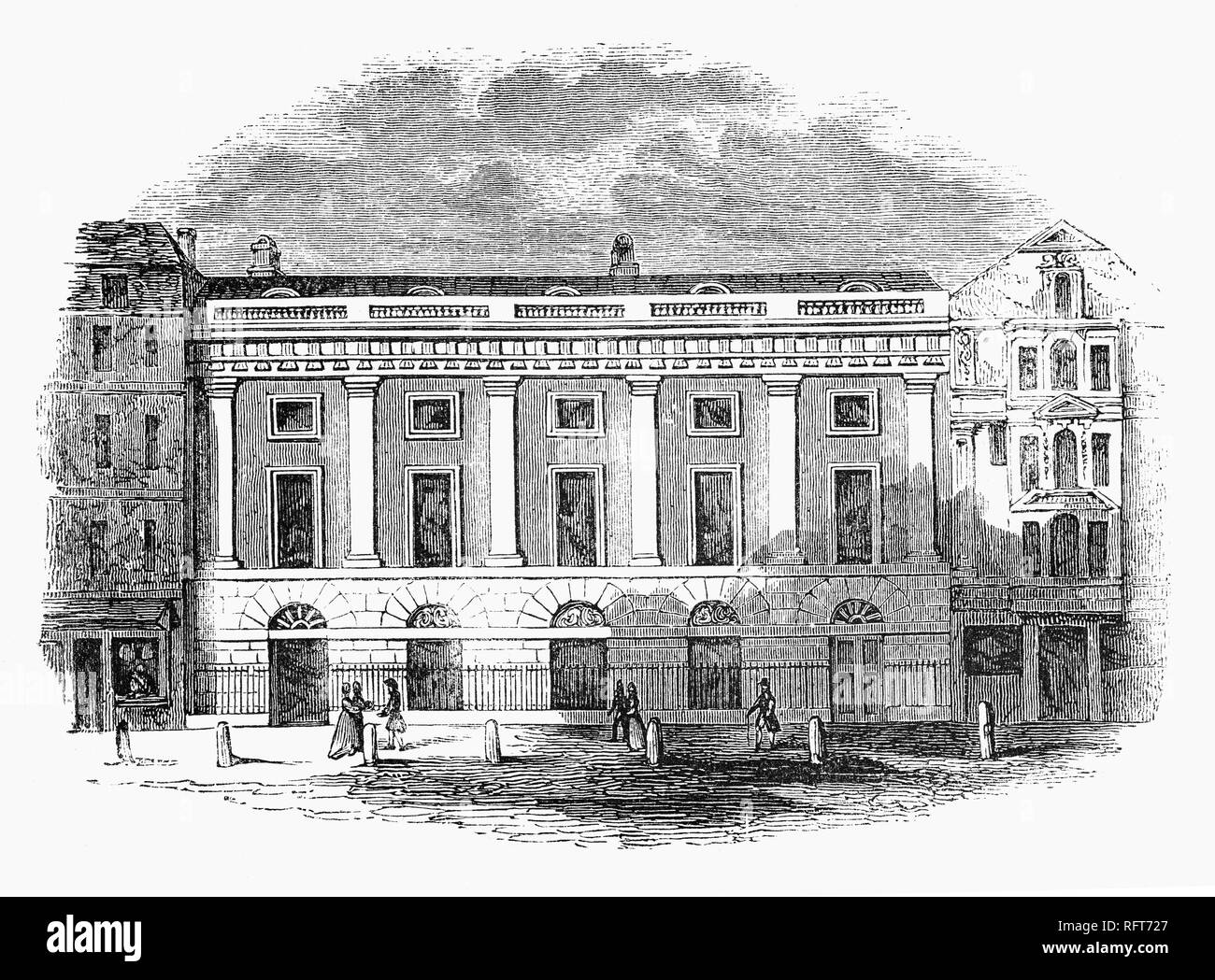 The old East India House, London headquarters of the East India Company, from which much of British India was governed until the British government took control of the Company's possessions in India in 1858. It was located in Leadenhall Street in the City of London. The first East India House on the site was an Elizabethan mansion, previously known as Craven House, which the Company first occupied in 1648. This was completely rebuilt in 1726–29; and further remodelled and extended in 1796–1800. It was demolished in 1861. - Stock Image