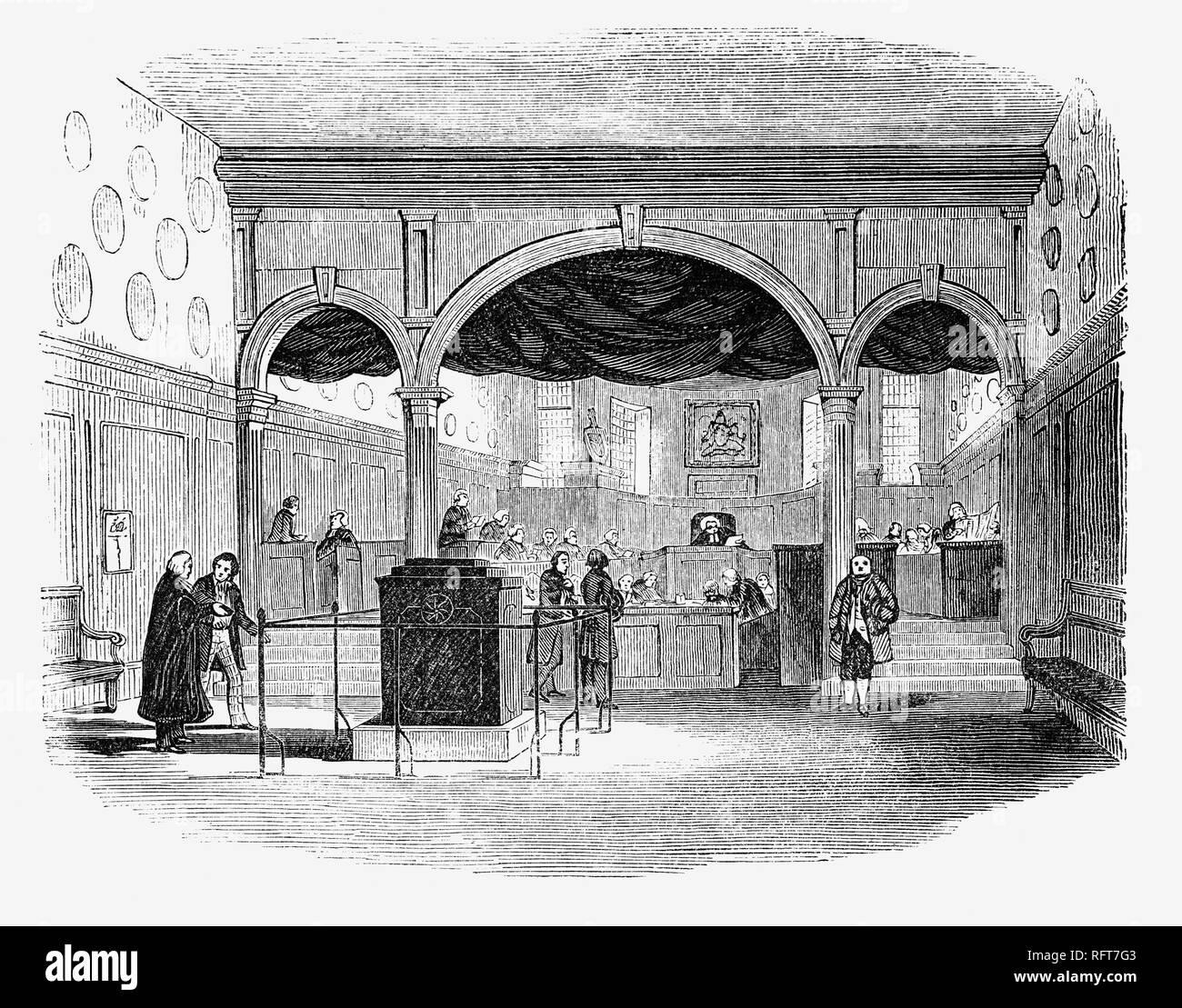 The Hall of Doctors' Commons, also called the College of Civilians, was a society of lawyers practising civil law in London. Like the Inns of Court of the common lawyers, the society had buildings with rooms where its members lived and worked, and a large library. Court proceedings of the civil law courts were also held in Doctors' Commons.  The society of Doctors' Commons buildings were acquired in 1567, were originally situated near St. Paul's Cathedral at Paternoster Row, and later nearby in Knightrider Street where it remained until the buildings were sold in 1865. In 1768 it was incorpora - Stock Image
