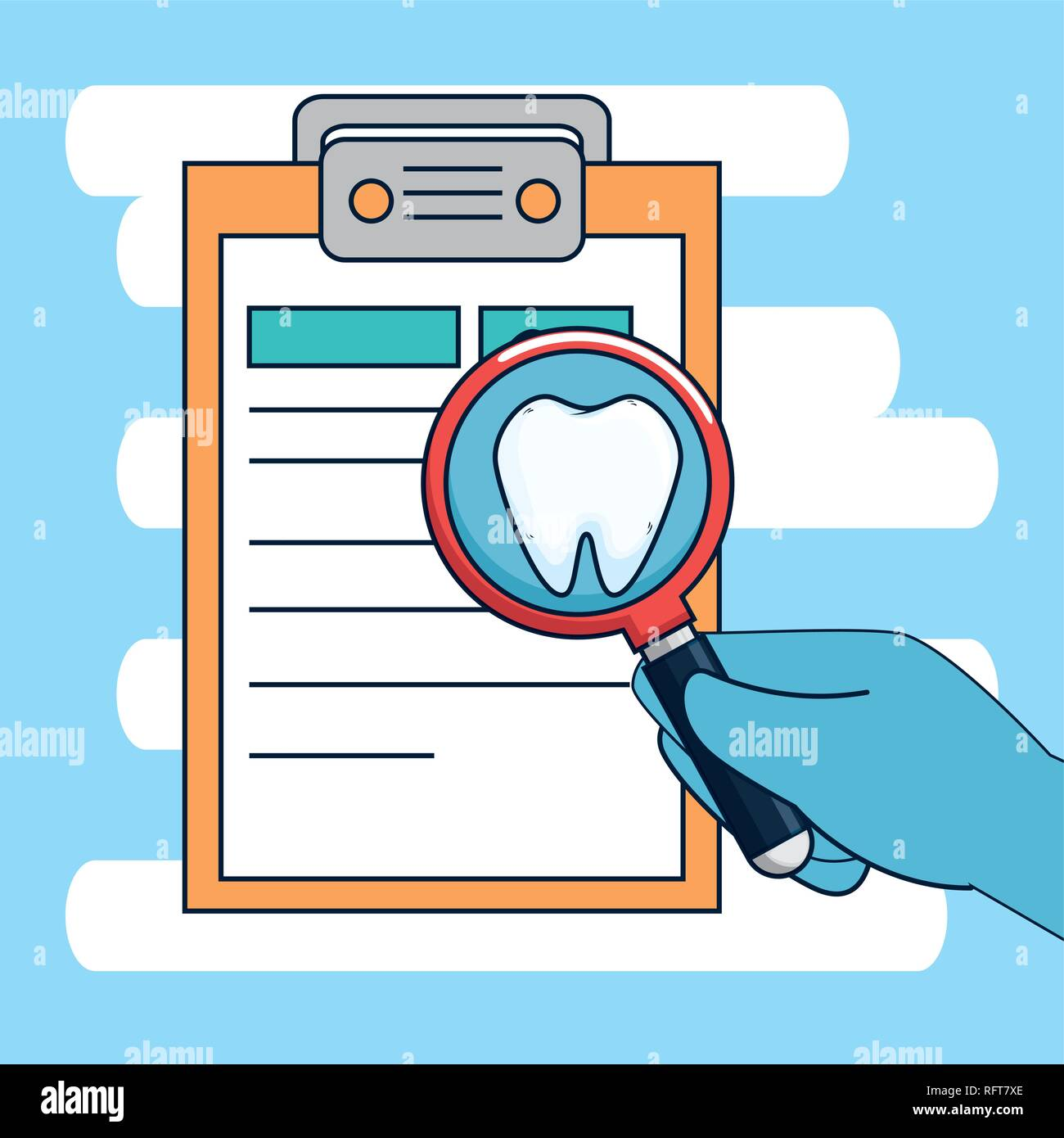 dentistry diagnosis with medicine treatment and magnifying glass - Stock Image