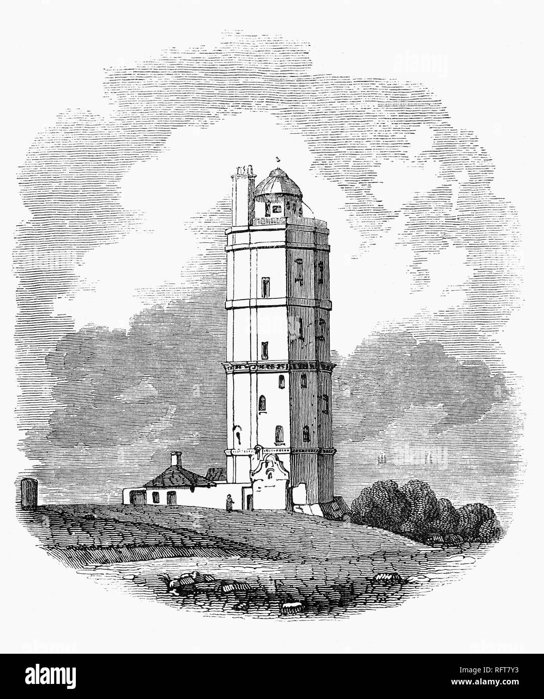 North Foreland Lighthouse on the chalk headland on the Kent coast of southeast England. The original lighthouse was burnt down in the year 1683, and replaced at the end of the same century with a strong octagonal structure of flint.  Erected on the top was an iron grate quite open to the air in which a fire was kept blazing at night. Around 1732 the top of this lighthouse was covered with a sort of lantern with large sash windows with the fire was kept bright by bellows. However the plan did not work well and many vessels were lost on the sands from not seeing the light. - Stock Image