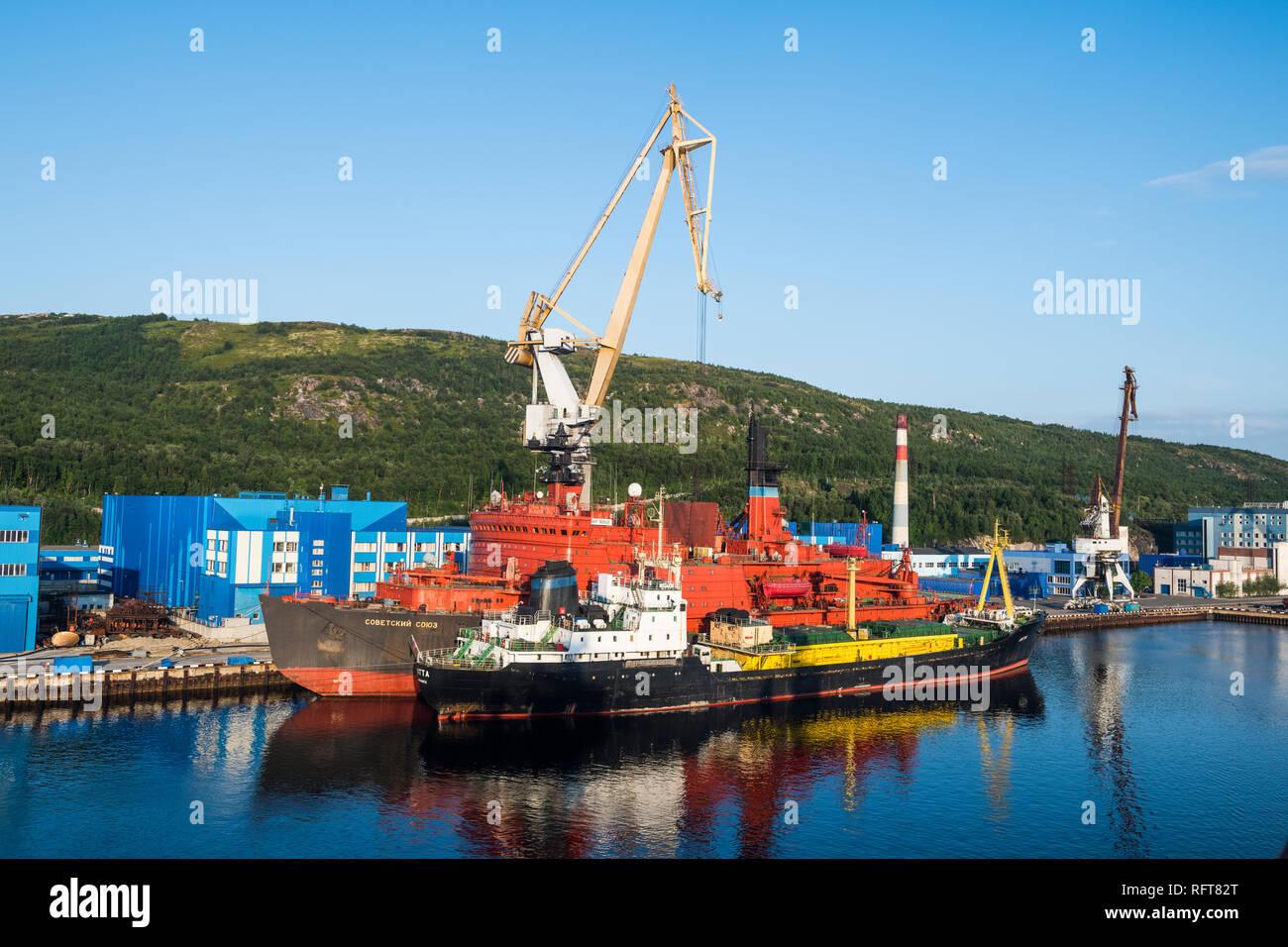 Rusatom port in Murmansk, Russia, Europe - Stock Image