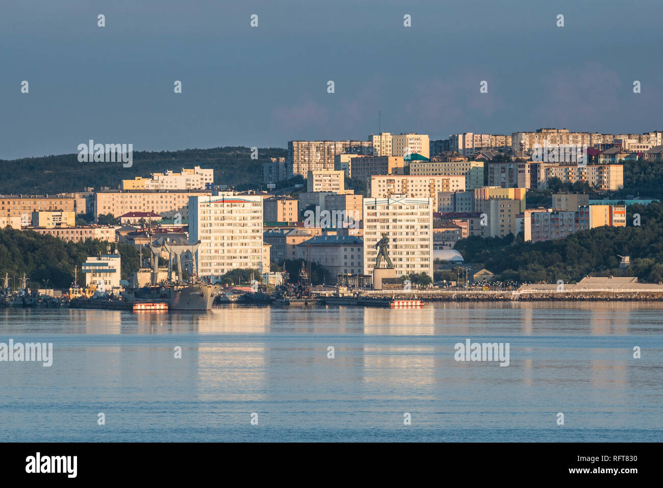 View over Murmansk at sunset, Russia, Europe - Stock Image