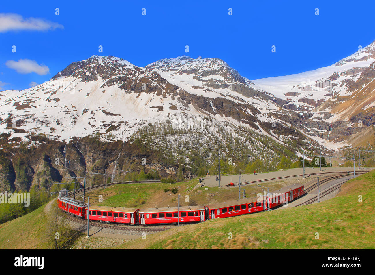Alp Grum Station, Canton of Graubunden (Grigioni), Switzerland, Europe - Stock Image