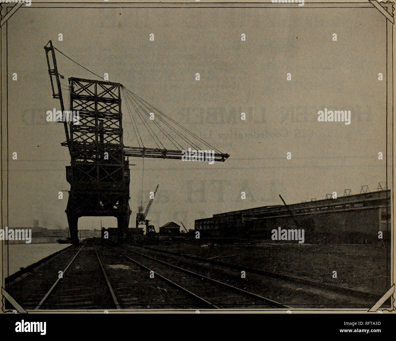 . Canadian forest industries July-December 1923. Lumbering; Forests and forestry; Forest products; Wood-pulp industry; Wood-using industries. CANADA LUMBERMAN HEAD OFFICE 512-513 Drummond Building MONTREAL, QUE.. View of our docks and mill, also gantry and locomotive cranes used in handling our heavy timbers We are Specialists in British Columbia Forest Products We Handle The Best in the West If you are interested in Western stock send us your inquiries. We can make quick shipments from our Montreal stock.. Please note that these images are extracted from scanned page images that may have been - Stock Image