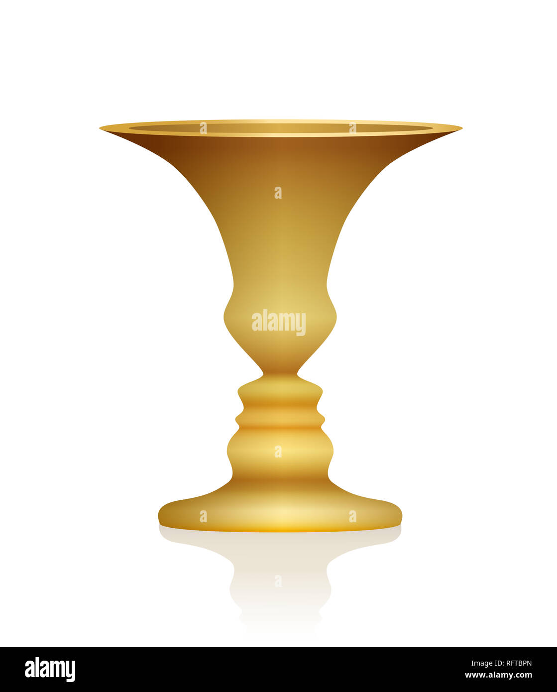 Optical illusion. Vase with two faces in profile. Golden colored three-dimensional chalice. In psychology known as identifying figure from background. Stock Photo
