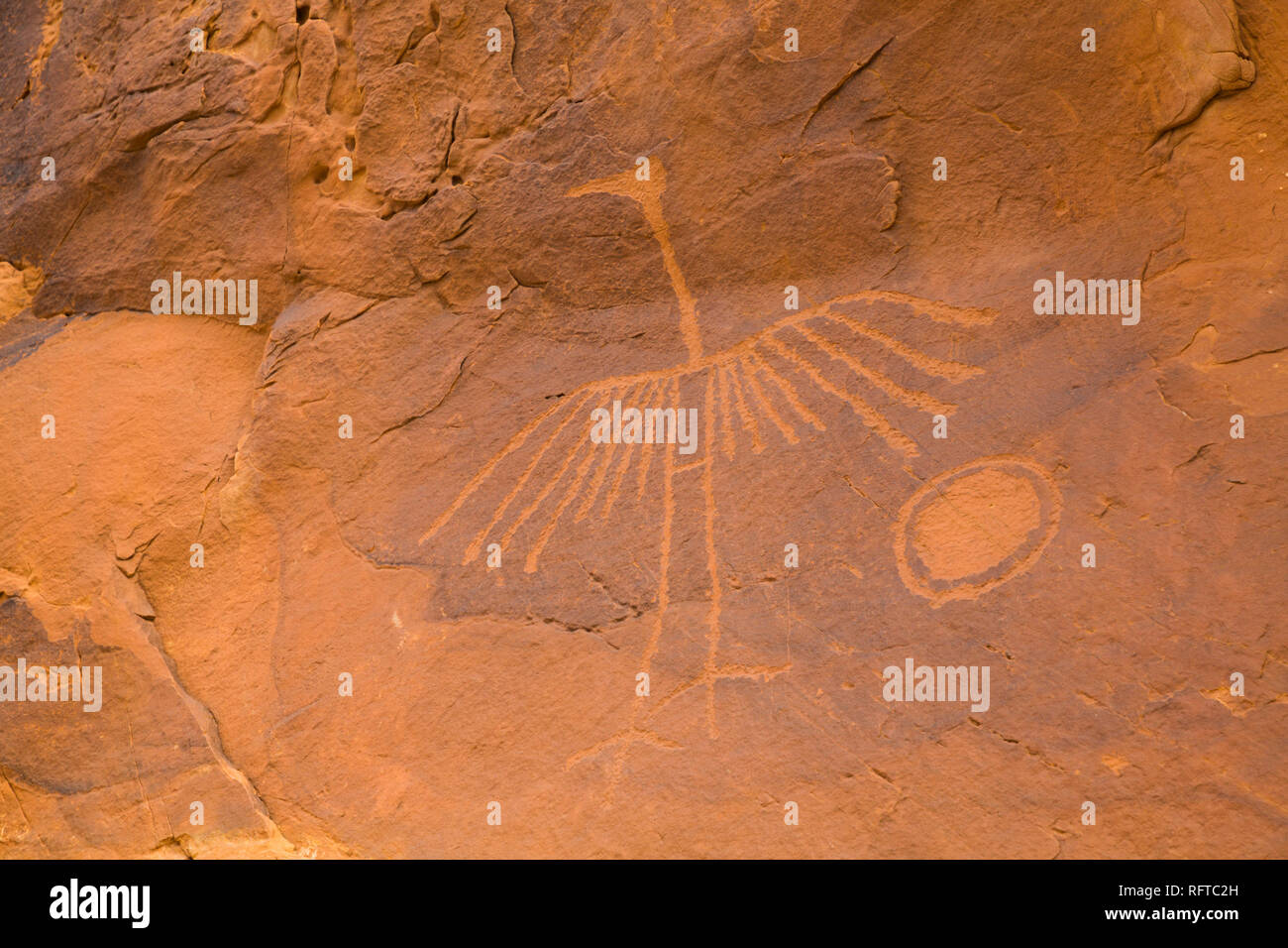 Big Crane Pictograph, made by Ancestral Puebloans, approximately 900-1000 years old, Bear's Ears National Monument, Utah, United States of America Stock Photo