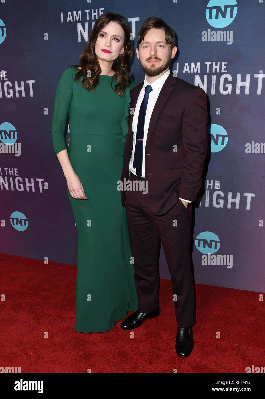 Los Angeles, CA, USA. 24th Jan, 2019. 24 January 2019 - Los Angeles, California - Jamie Anne Allman, Marshall Allman. TNT's ''I Am the Night'' Los Angeles Premiere held at Harmony Gold. Photo Credit: Birdie Thompson/AdMedia Credit: Birdie Thompson/AdMedia/ZUMA Wire/Alamy Live News - Stock Image