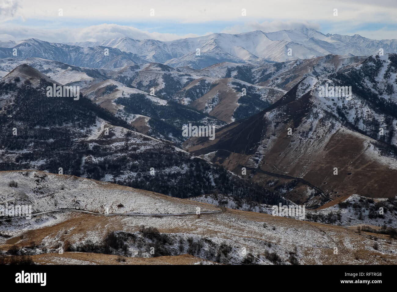 Grozny, Russia. 26th Jan, 2019. CHECHNYA, RUSSIA - JANUARY 26, 2019: A mountain view of the Galain-Chazh District, southwestern Chechnya. It used to exist as an administrative division of the former Chechen-Ingush Autonomous SSR, was dissolved after the 1944 deporation of the local peoples and re-established by Ramzan Kadyrov, Head of the Chechen Republic, in 2012. Yelena Afonina/TASS Credit: ITAR-TASS News Agency/Alamy Live News - Stock Image