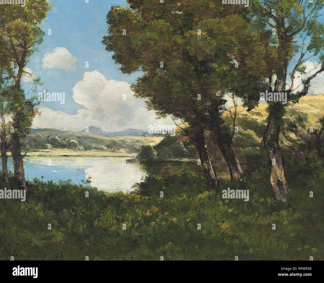 Henri Harpignies , Lakeside 1898.jpg - RFW0X8  - Stock Image