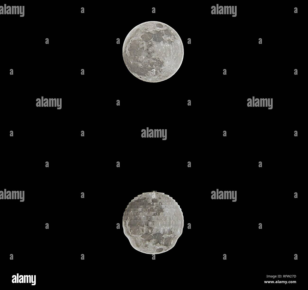reflections on the sea of a shining full moon in the dark night - Stock Image