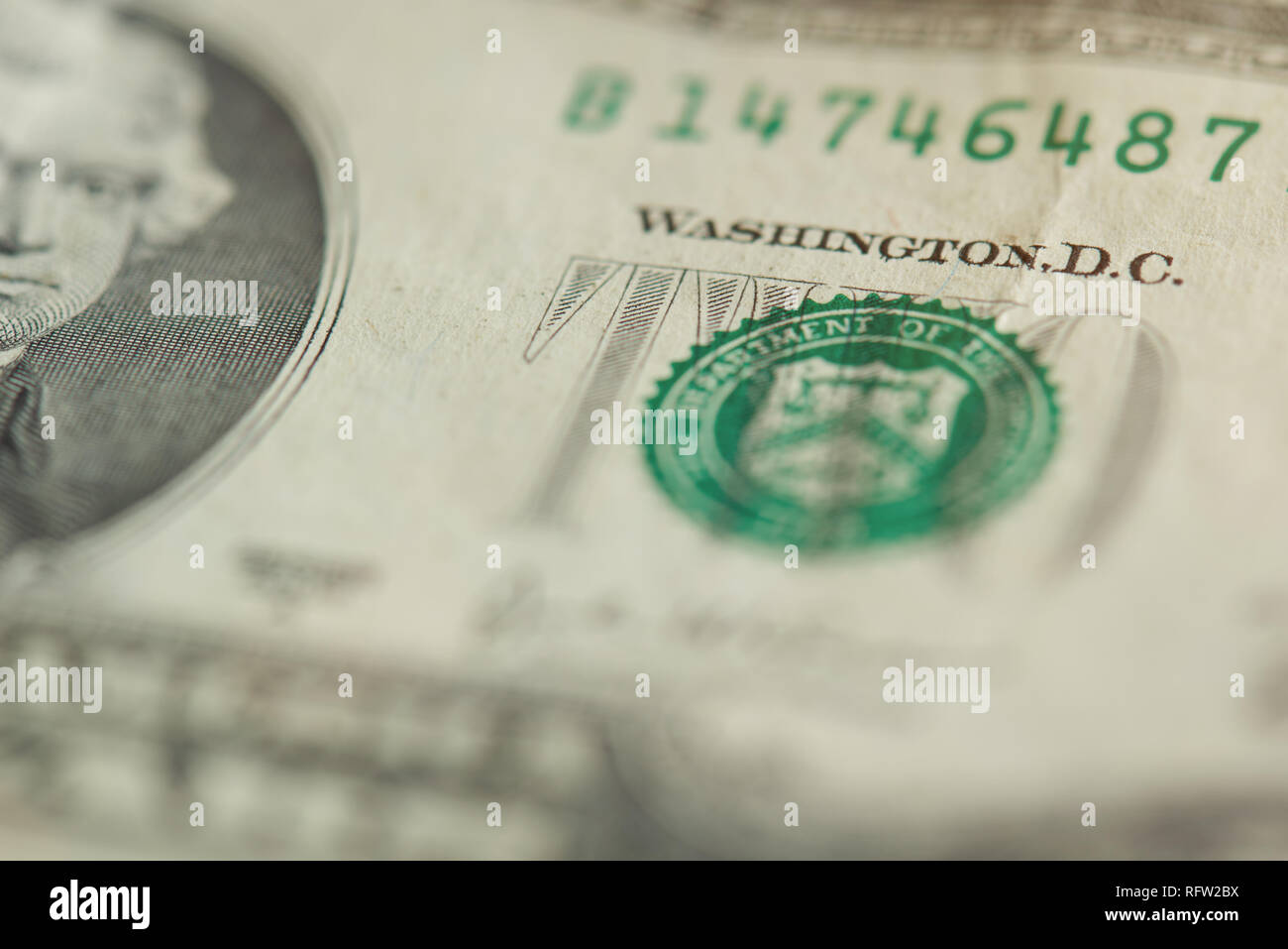 Stamp On 2 Dollar Bill Macro Close Up View