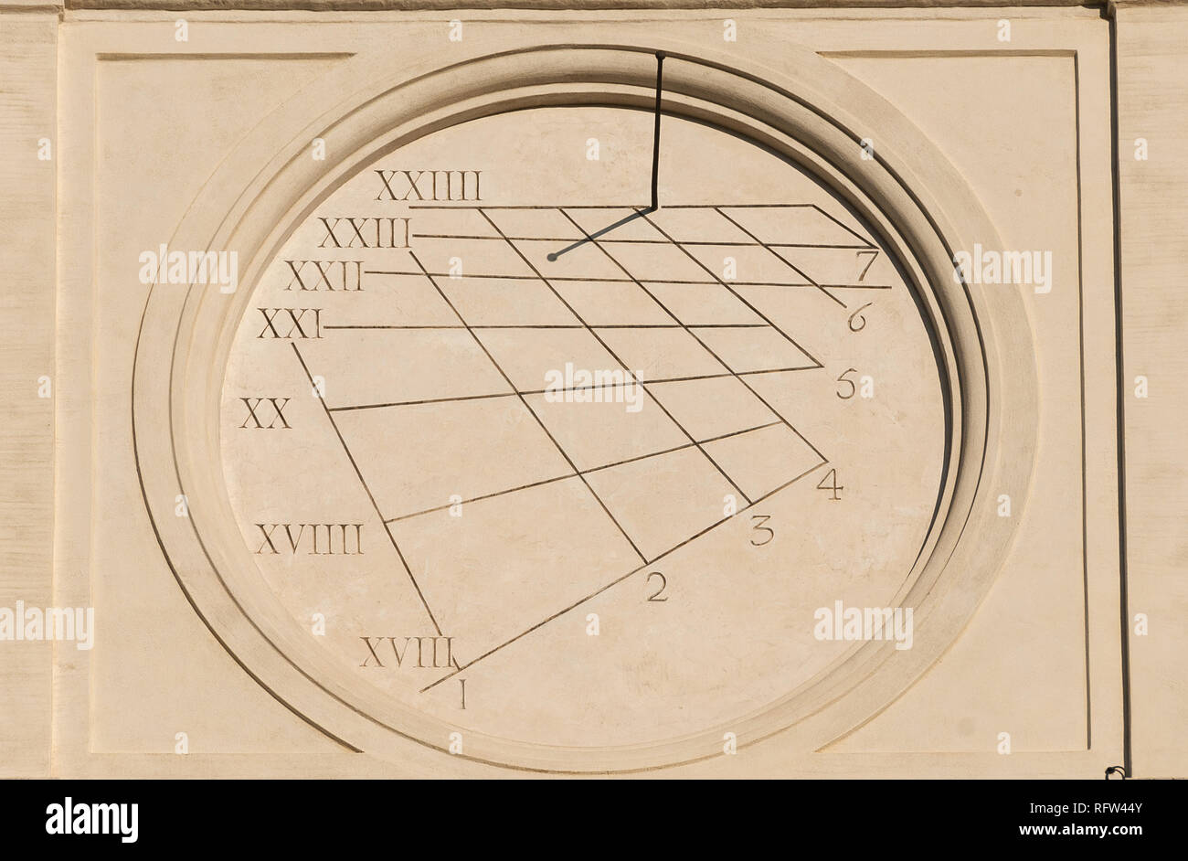 Ancient times and hours. Old sundial with gnomon from Trinity of the Mounts Church facade in Rome (16th century) - Stock Image