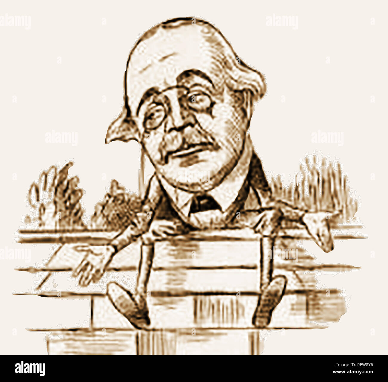 1898 British political cartoon /  caricature of Politician Arthur Balfour as Humpty Dumpty, sitting on the fence regarding the provisions of old age pensions. Arthur James Balfour, 1st Earl of Balfour, KG, OM, served as Prime Minister between 1902 and 1905. Also held positions of Lord President of the Council, Foreign Secretary, First Lord of the Admiralty and Leader of the Opposition, First Lord of the Treasury and Lord Privy Seal. Stock Photo