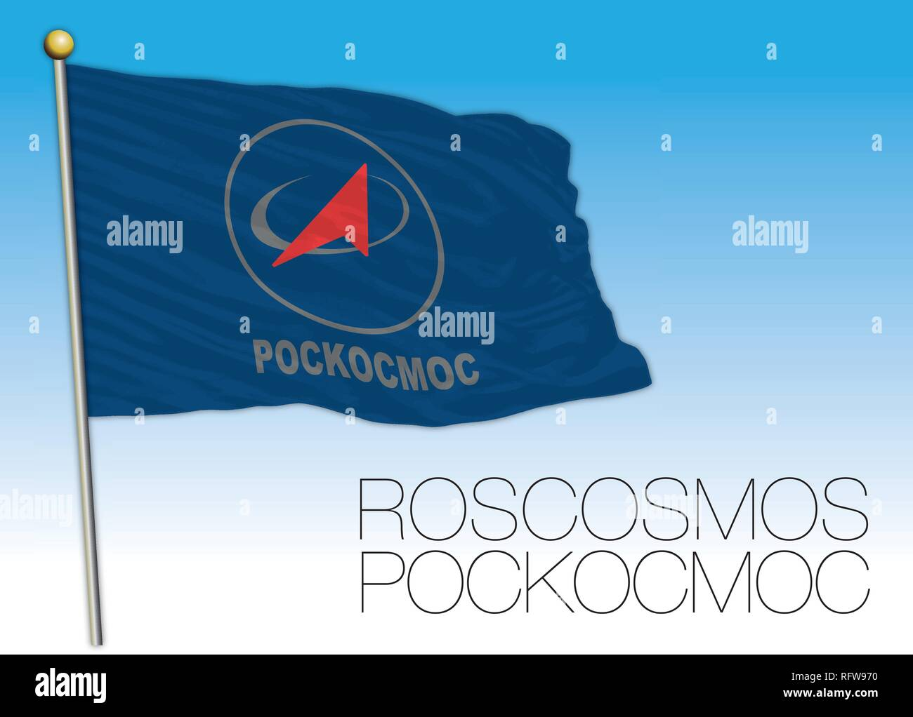 Roscosmos flag, Russian Space Agency of Russia, vector illustration - Stock Image
