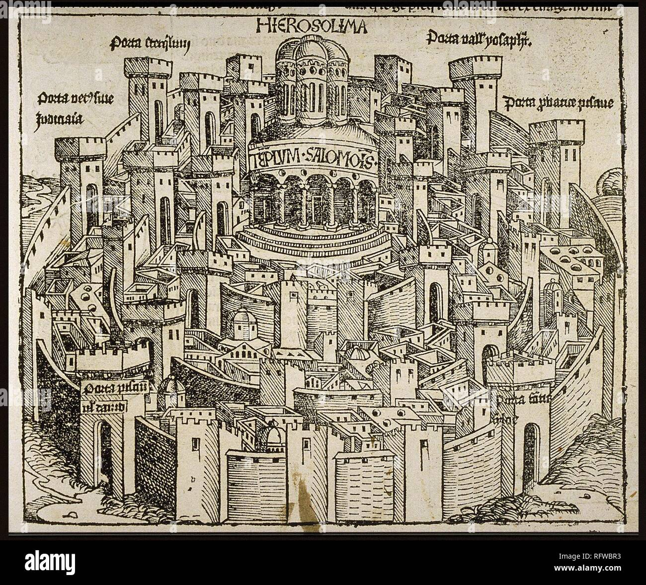 Jerusalem (from the Schedel's Chronicle of the World). Museum: PRIVATE COLLECTION. Author: WOLGEMUT, MICHAEL. - Stock Image