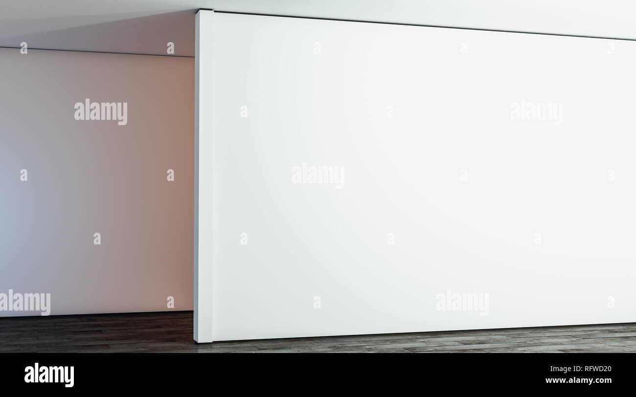 Blank white large gallery wall in hall mock up, 3d rendering. Empty big stand in room mockup, side view. Clear sunlight interior with modern exhibition wal tempate. - Stock Image