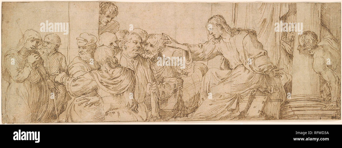 Domenico Campagnola ca. 1500-1564 Jesus Among the Doctors in the Temple.jpg - RFWD3A 1RFWD3A - Stock Image