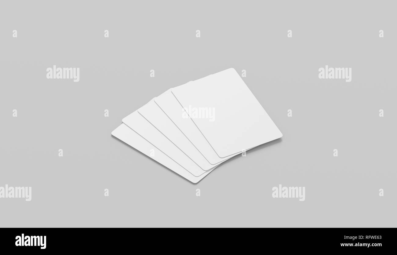 Blank white five playing cards face mockup, isolated, side view, 3d rendering. Empty paper taro mock up. Clear display for trump suit. Success and fortune in gaming template. - Stock Image