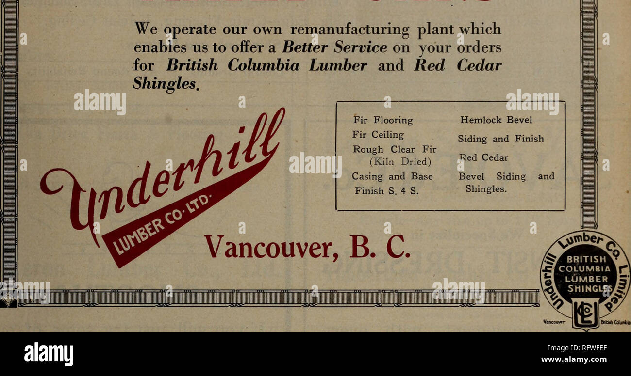 . Canadian forest industries July-December 1923. Lumbering; Forests and forestry; Forest products; Wood-pulp industry; Wood-using industries. MIXED CARS We operate our own remanufacturing plant which enables us to offer a Better Service on your orders for British Columbia Lumber and Red Cedar Shingles.. Please note that these images are extracted from scanned page images that may have been digitally enhanced for readability - coloration and appearance of these illustrations may not perfectly resemble the original work.. Don Mills, Ont. : Southam Business Publications - Stock Image