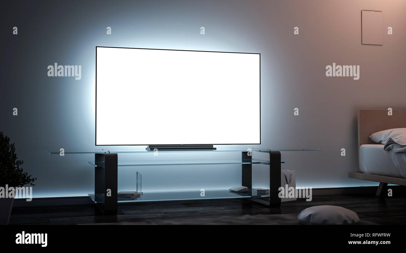 Blank white tv screen room interior in darkness mockup, 3d rendering. Empty lcd widescreen mock up, side view. Clear smart monitor in flat for watch cinema or video template. - Stock Image