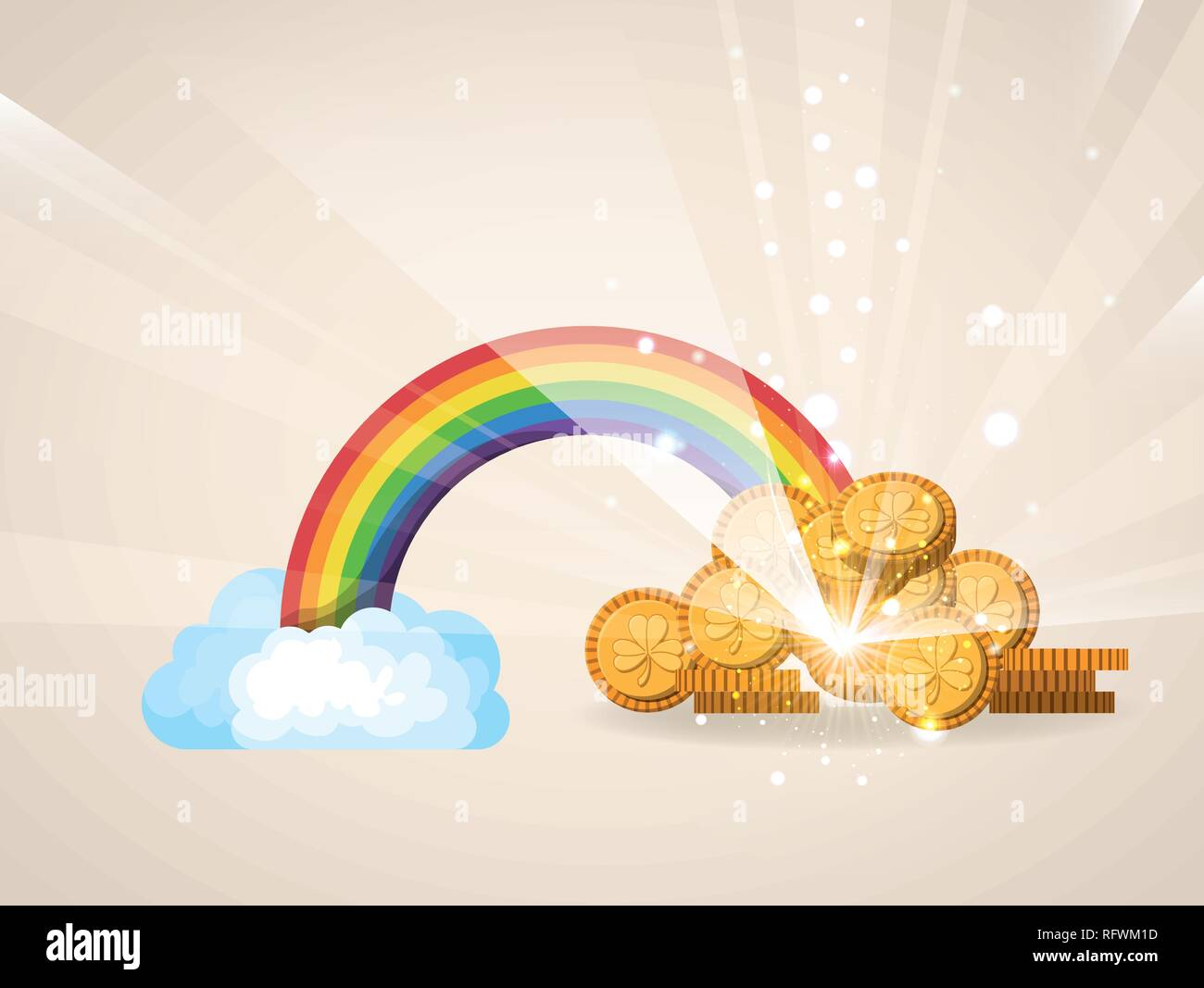 cute rainbow with treasure coins - Stock Vector