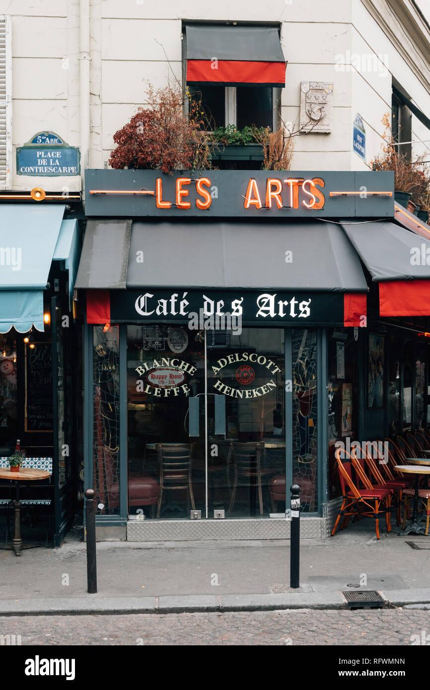 Cafe des Arts, in the Latin Quarter (5th arrondissement), Paris, France - Stock Image