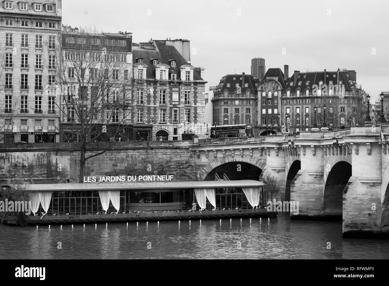 Les Jardins Du Pont Neuf And The Seine In Paris France
