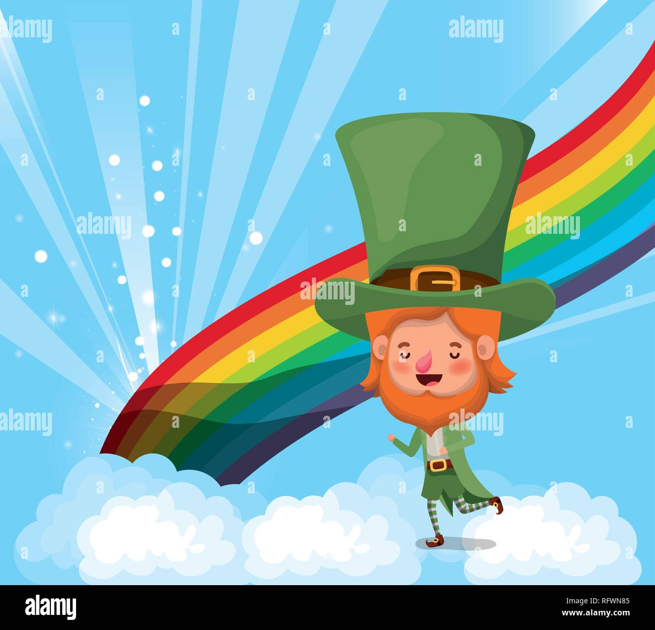 lemprechaun with rainbow saint patricks day - Stock Vector