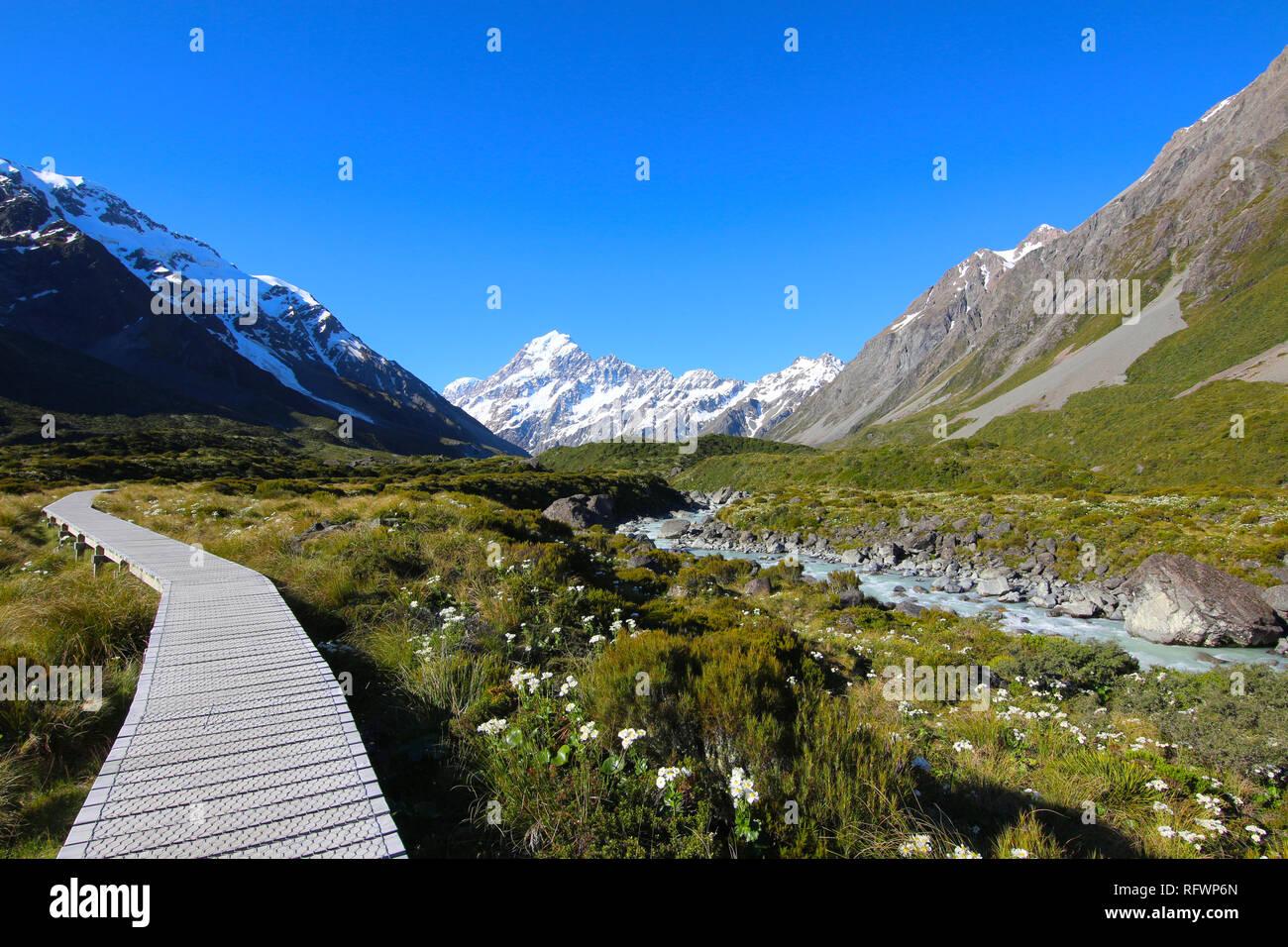 Aoraki / Mount Cook along the Hooker Valley Track, South Island, New Zealand - Stock Image